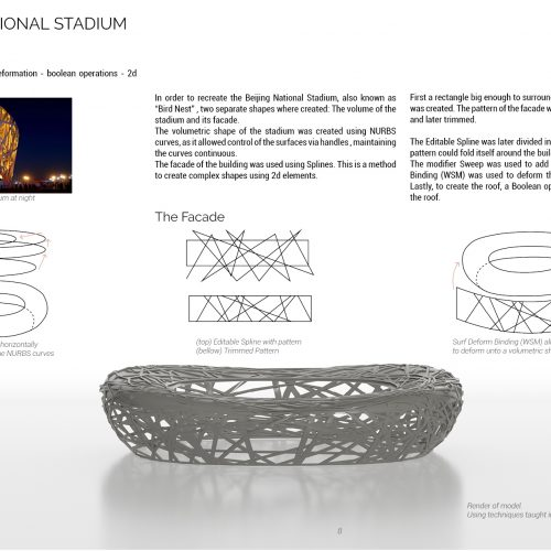 """On the upper corner is a real-life image of """"The Nest"""" project. There are some diagrams explaining the digital process to create the 3D model. In the bottom center the final 3D model is displayed."""