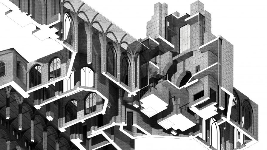 Worms eye axonometric section with a cut-out piece exposing the interior of the proposal