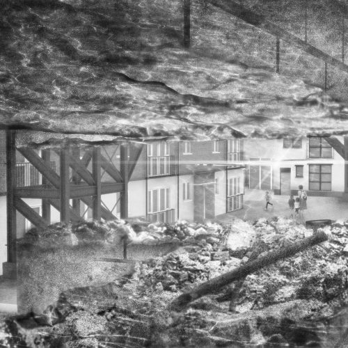 Interior view of Harrowby Street looking towards the river through the selective demolition dictated by reflected sunlight