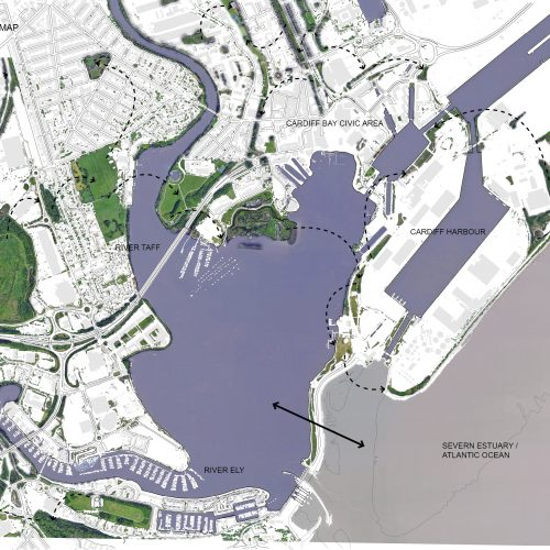 Map of Cardiff Bay and the areas where nature is currently present