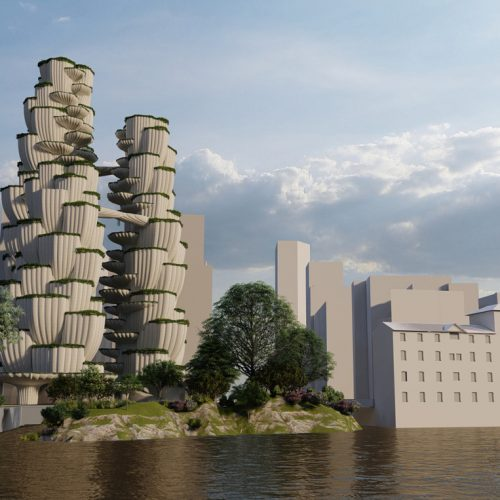 Garden Grove Dwellings: Conceptual view overlooking the Town Quay