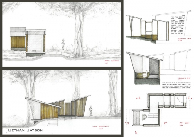 Floor plans, sections and elevations of writer's creative shelter