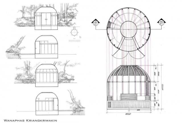 Floor plans, sections and elevations of musician's creative shelter