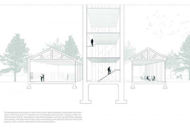 This interior perspective of the Boilerhouse shows how the space is occupied by a large food store, a cosy and intimate restaurant, and the aviary, which is open air and planted to attract birds and insects. It is accessible all the way to the top via a staircase and has intermittent perforated steel floors