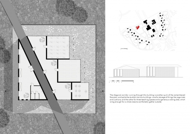 Page showing plan and section of the studio spaces. The left image is the plan, showing 3 separate studio rooms overlooking a pond with a diagonal walkway cutting through the studios and a storage area. There is a locator key on the top right, and below is a simple elevation of the space, showing the two buildings and highlighting an overhang on the south side of the building that will reduce solar gain.