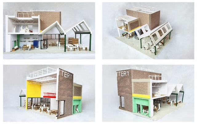 photos of the interior model which show the high ceilings and colourful accents on structure and wall colour