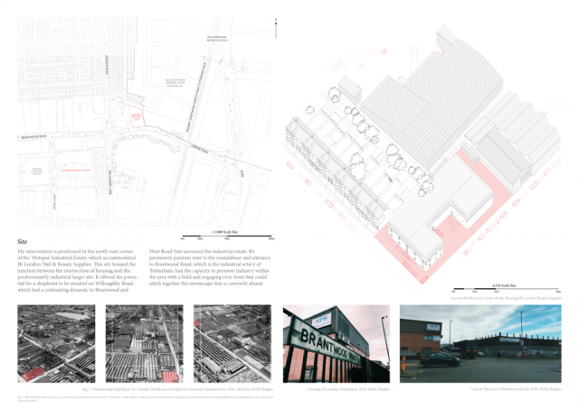 portfolio page 2 with a site map to the right showing a map showing the placement of the bottling works on brantwood road. There is an axonometric study to the right which shows the housing to the left of the site and other industrial building surrounding the bottling works. There are images illustrating brantwood road on the bottom of the page