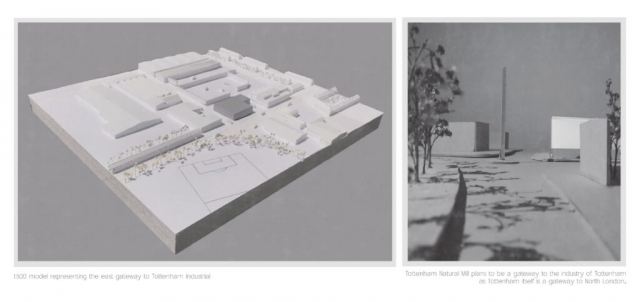 a site model on the left of the page which is white and shows the massing of the mill in grey. There is another image of this looking down a road