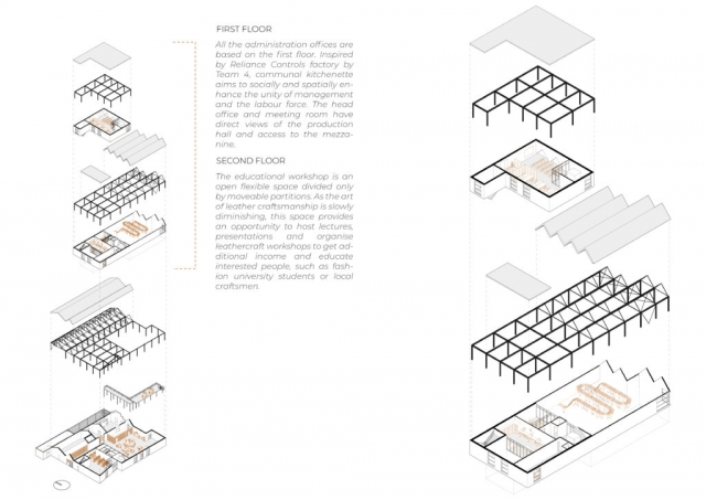 more axonometric drawings showing in more detail the educational workshop and its relevant structure