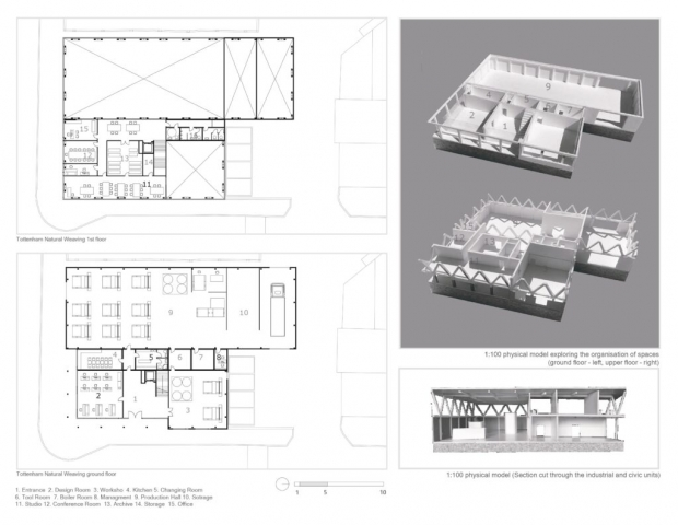 plans of the building paired next to interior models showing where the weaving takes place