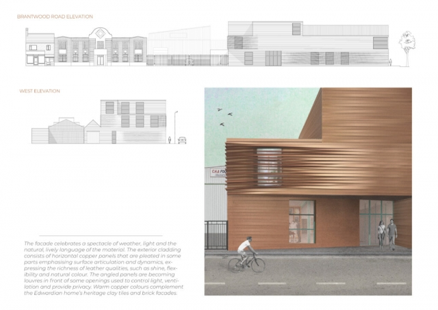 elevational drawings from Cad which shows the leatherworks in the streetscape. There is also a render showing the waves of the unique copper cladding