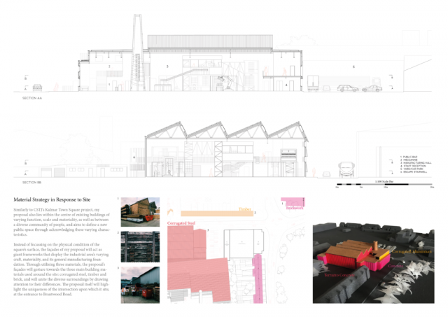 portfolio page 4 show the sections of the building showing all machinery in the centre. there is a colourful illsurative model to the bottom of the page showing the exterior of the bottling unit on site