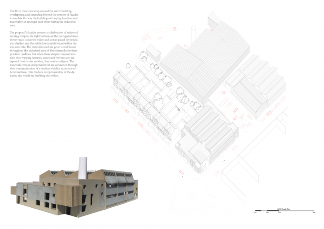 portfolio page 5 shows an image of the bottling unit in axo. it has a saw tooth roof and square unit to the front of the building and is clad in industrial materials