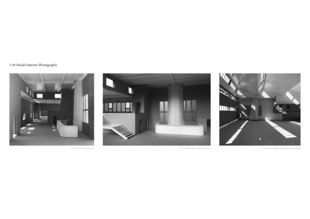 this page shows interior model images which are black and white and show atmospheric light qualities of the space