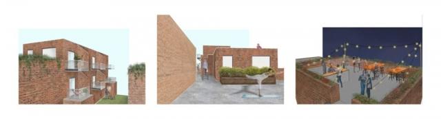 Private balcony, semi-private terrace and public roof top bar