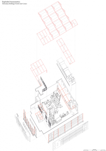 exploded axonometric of the bottling unit. the machinery is displayed in the centre with the roofs exploded from it as well as the facades exploded from the central manufacturing space