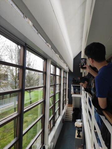 Students inside the Cener National Renewable Centre building in Navarra