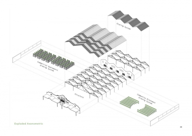 an axonometric drawing showing the structure, glazing systems and hydroponic growing systems