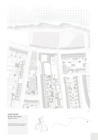 Image show site's close proximity to cliff edge and nature of site; predomintely terraced houses, central open green space and large commercial block/building.