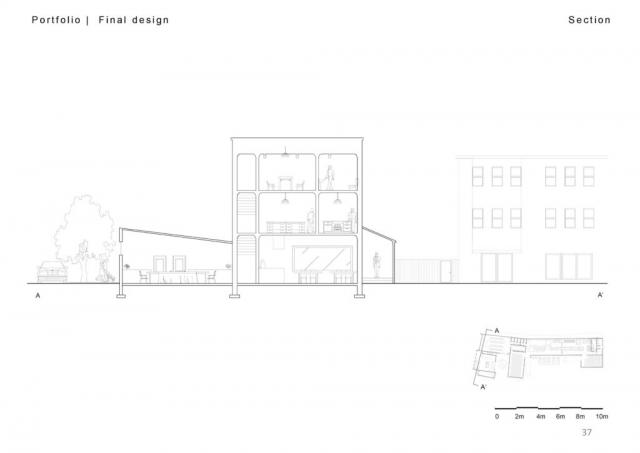 section cut through from NE to SW illustrating the restaurant to the left, pub in the centre and entrance to the right