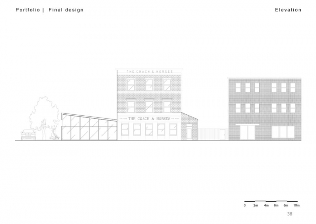 An elevation illustrating the coach and horses pub in the centre, a brick clad traditional london pub, and a section cut through of the manufacturing hall to the left