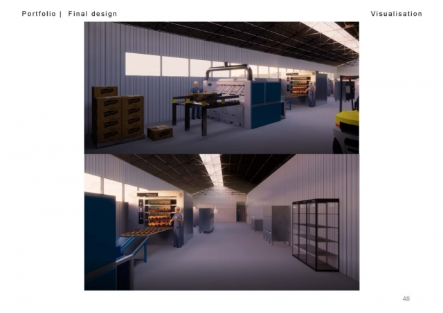 two renders of the bakery. The first shows the windows out of the bakery and the machinery inside. There is n end of the day glow nside. The second has the same atmosphere as the first but looks down the length of the manufacturing hall