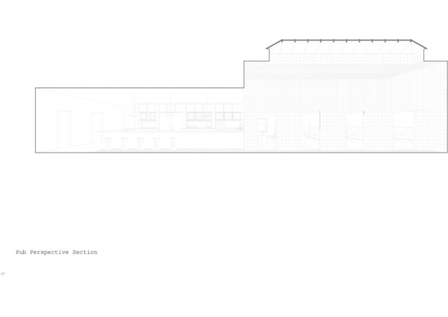 a perspective section showing the pub and booths for seating to the right