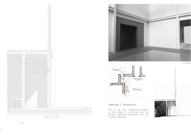 interior model image at 1.20 accompanied by a technical section of the brickwork