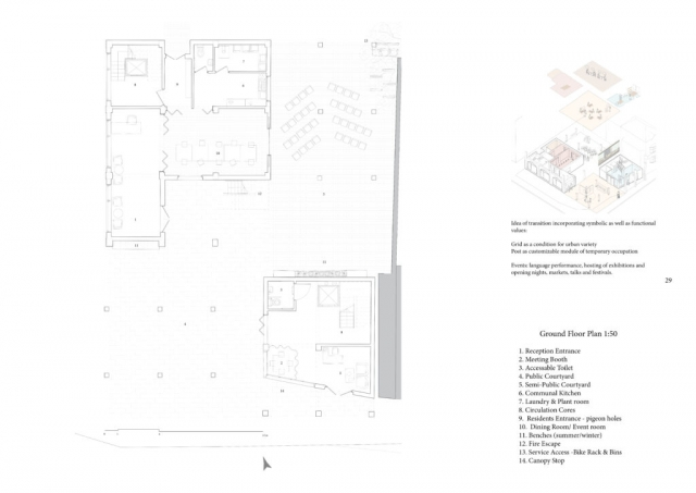 ground floor plan and variations of events