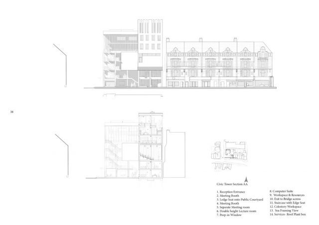 Section and elevation of the civic