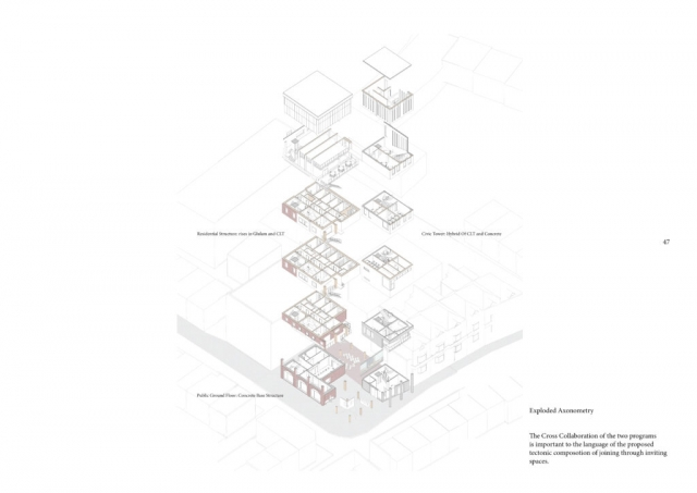 Exploded Axonometry of btwo buildings - the civic and residential