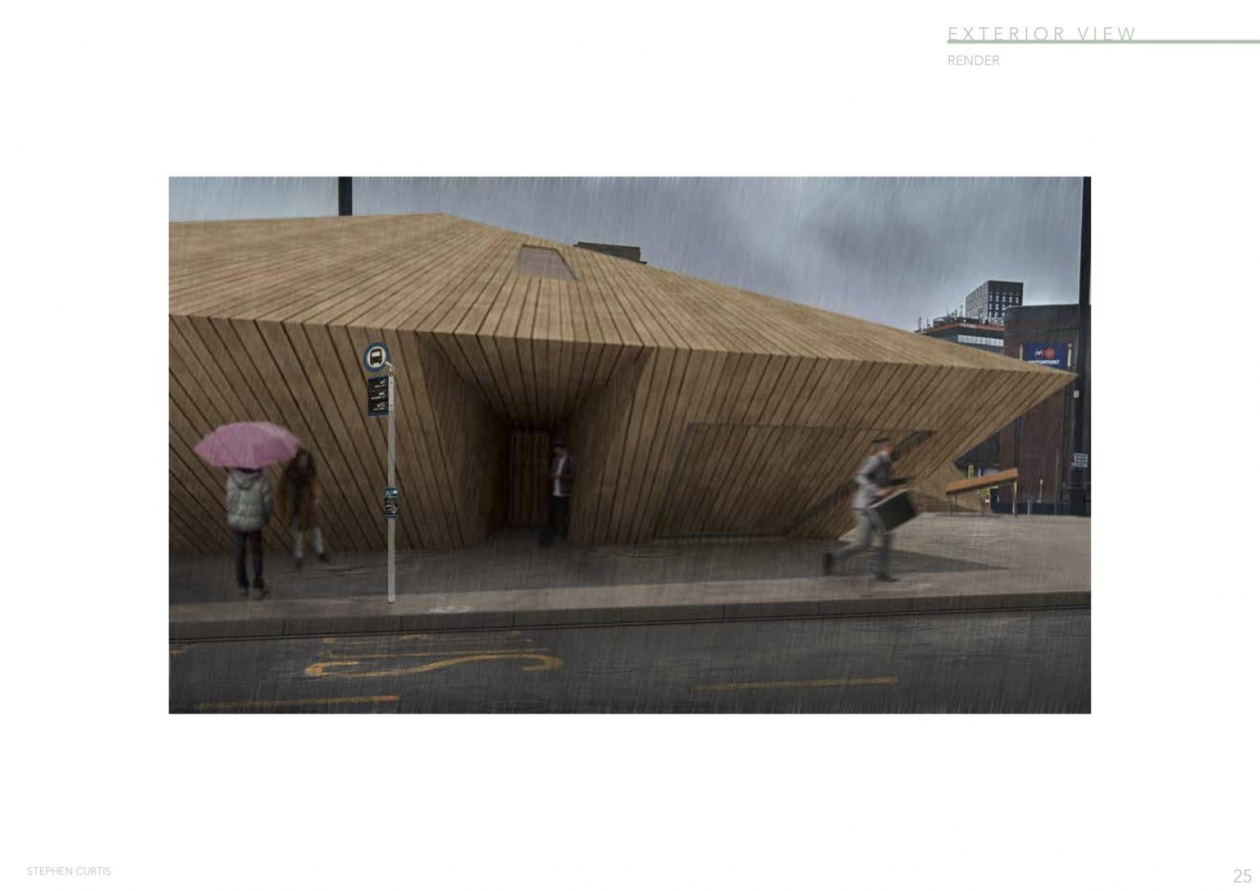 An external view of the scheme from the scheme of a timber cladded structure by Stephen Curtis