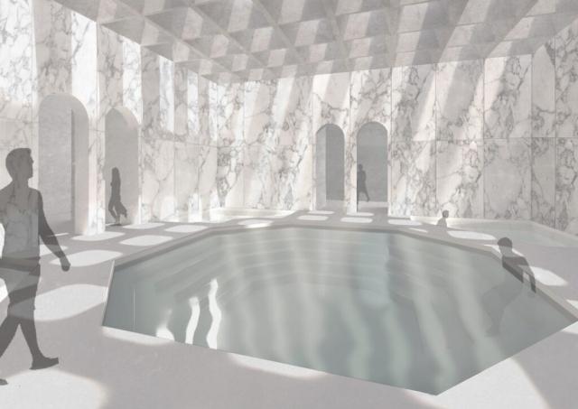 Indoor pool render with skylights