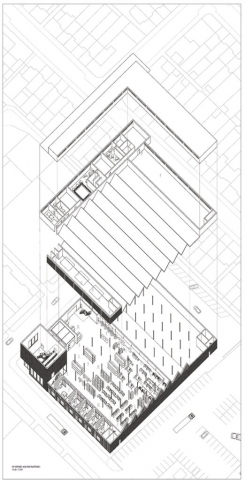 axonometric drawing where the floors have been exploded and we can see a view of the manufacturing hall and artist's studios at the bottom