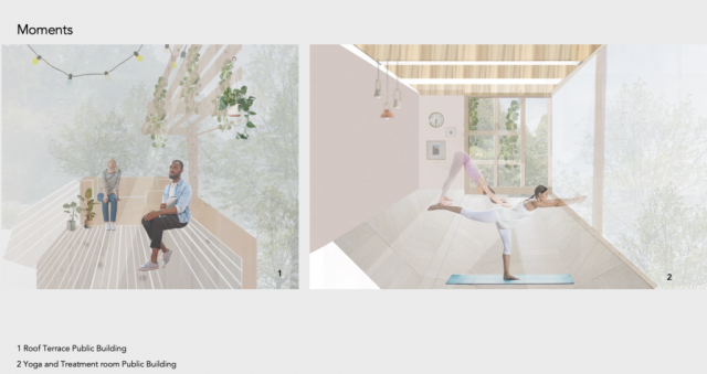 2 images showing the interior of the space. left side: Roof Terrace. Right side: Yoga and Treatment Room