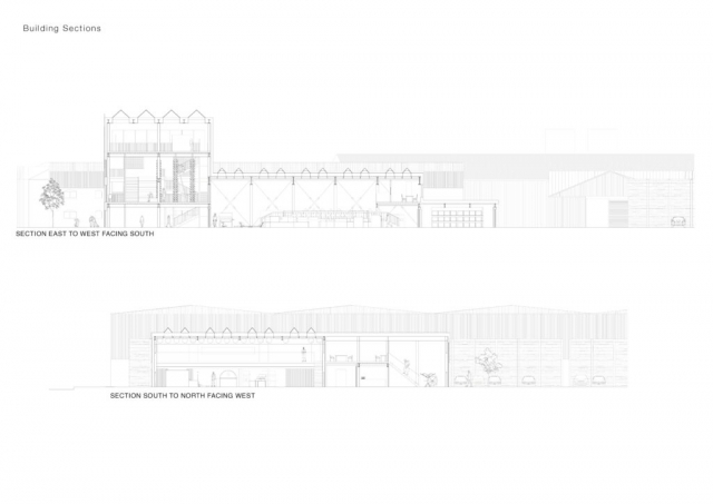 two sections. The first shows the civic part of the building to the left, manufacturing hall in the centre and storage to the right. The second shows the manufacturing hall and mezzanine layer and the workshop to the left