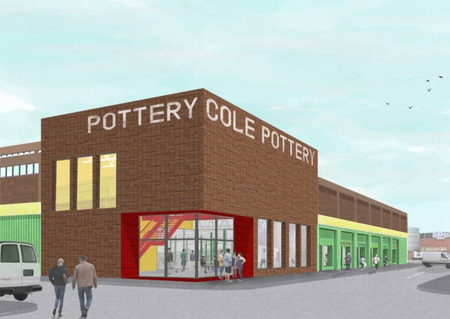 an exterior render showing the brick exterior of Cole's Pottery with green and yellow accents