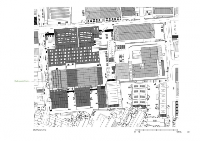 planimetric drawing showing the hydropnic farm in the wider context of tottenham