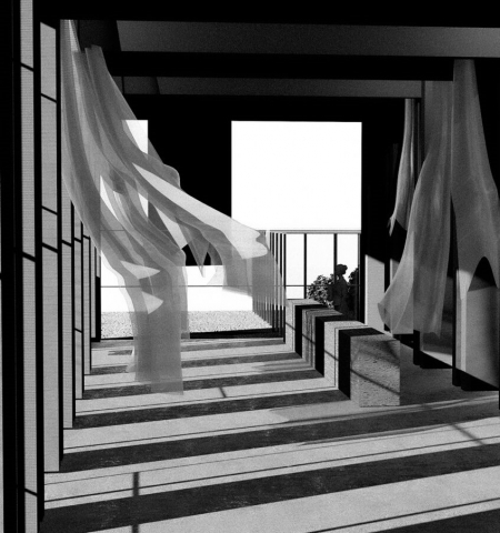 an atmospheric render in black and white showing the interior of the space. There are curtains blowing in the wind