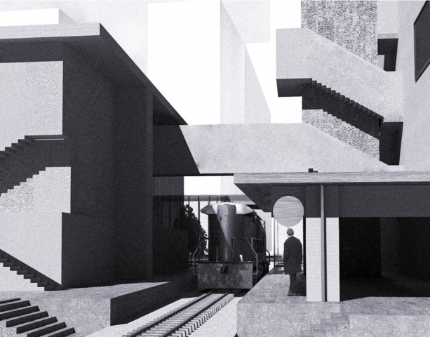 atmospheric render in black and white of the outside space. The staircases are particularly prominent