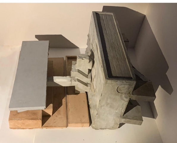 A final model made from concrete and pink plaster
