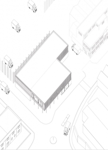 an axonometric drawing showing the relationship the building has on the corner of brantwood road and dyson's road