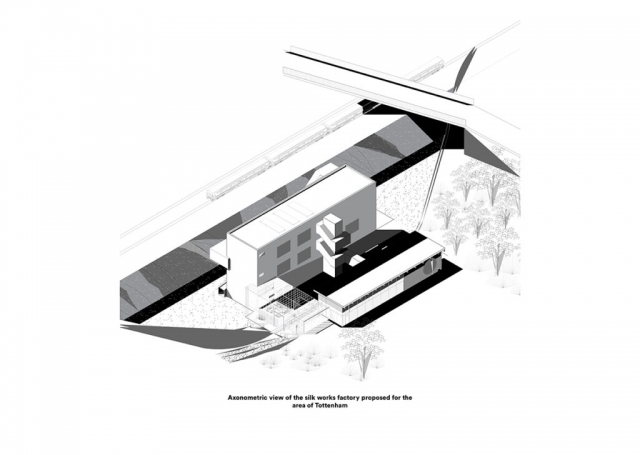 axonometric drawing showing the building including the glass cage for the caterpillars