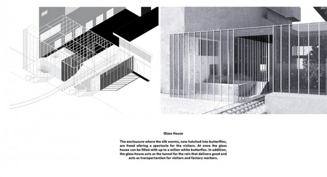 two external renders of the glass house. Its slender framing allows the butterflies to grow