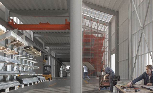 interior of the metal works  with storage to the left and people to the right
