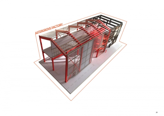 fluorescent red model of the metal works