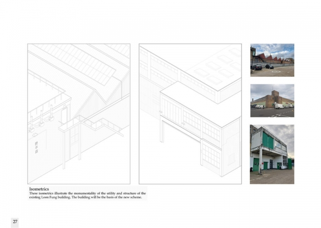 isometric drawings detailing the composition of the original building from the outside