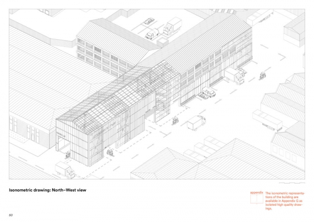 exterior isometric drawing  with industrial expression