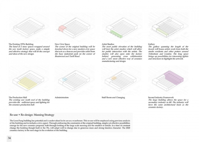 diagrams showing how the original building has been redesigned using existing structure