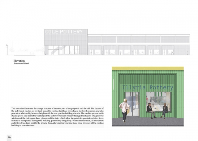 elevations showing cole pottery. There is also a small render wich shows the green exterior showing the artists space